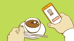 Cartoon Hands Holding Cup Of Coffee And Mobile Phone With Scanned QR Code Royalty Free Stock Photos