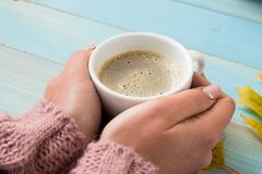 Hands holding cup coffee Stock Photography