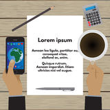 Hands holding a cup of coffee and a smartphone. Business concept. Hands holding a cup of coffee and a smartphone over a wooden table. A sheet of paper with text vector illustration