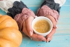 Hands holding cup coffee Stock Photo