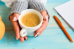 Hands holding cup coffee Stock Images