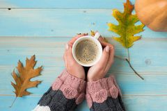 Hands holding cup coffee Stock Photos