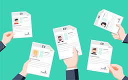 Hands holding CV papers. Human resources management concept, searching professional staff vector illustration