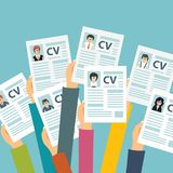 Hands holding CV papers. Human resources management concept, searching professional staff, analyzing resume papers, work. Flat vector illustration Royalty Free Stock Photography