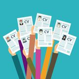 Hands holding CV papers. Human resources management concept, searching professional staff, analyzing resume papers, work. Flat vector illustration Stock Photo