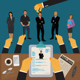 Hands holding CV profile to choose from group of business people to hire, interview, hr, Vector Illustration Royalty Free Stock Photo