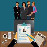 Hands holding CV profile to choose from group of business people to hire, interview, hr, Vector Illustration. Hands holding CV profile to choose from group of Stock Images