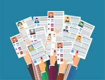 Hands holding cv resume documents. Royalty Free Stock Images