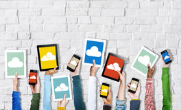 Hands Holding Digital Devices Cloud Networking Royalty Free Stock Image