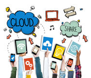 Free Hands Holding Digital Devices Cloud Networking Stock Photo - 45282300