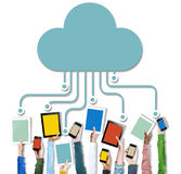 Hands Holding Digital Devices Cloud Networking stock photo