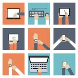 Hands Holding Digital Devices Stock Photo