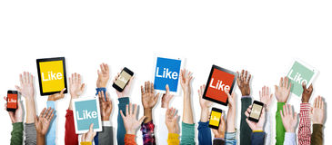 Hands Holding Digital Devices with Like Stock Images