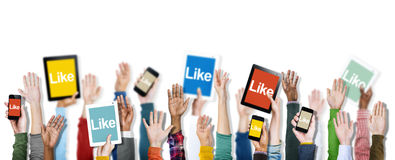Hands Holding Digital Devices with Like Concepts Royalty Free Stock Photography