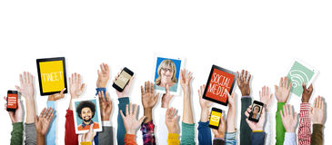 Hands Holding Digital Devices Social Media Stock Image