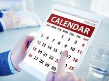 Hands Holding Digital Tablet Calendar Stock Photography