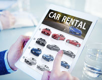 Hands Holding Digital Tablet Car Rental Stock Image