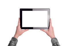 Hands Holding Digital Tablet Computer Stock Photography