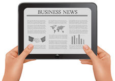 Hands holding digital tablet pc with business news Stock Photos