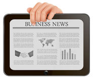 Hands holding digital tablet pc with business news Royalty Free Stock Photo