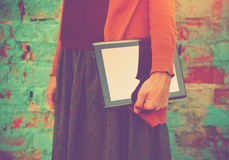 Hands holding digital tablet pc Royalty Free Stock Photos