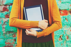 Hands holding digital tablet pc Stock Image