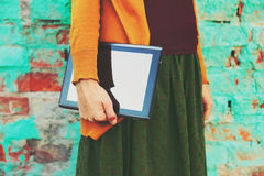 Hands holding digital tablet pc Royalty Free Stock Photo
