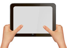 Hands holding digital tablet pc. Stock Images