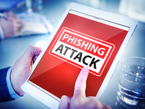 Hands Holding Digital Tablet Phishing Attack Stock Image
