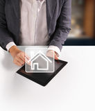 Hands holding  digital tablet Royalty Free Stock Images