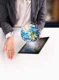 Hands holding  digital tablet Royalty Free Stock Photo
