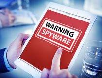 Hands Holding Digital Tablet Spyware Stock Images