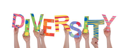 Hands Holding Diversity. Many Hands Holding the Colorful Word Diversity, Isolated Stock Photo