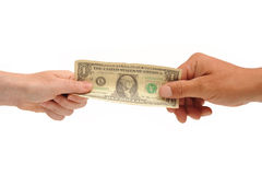 Hands holding dollar bill Stock Photography