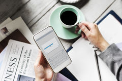 Hands Holding Downloading Mobile Phone with Coffee Cup Beverage royalty free stock images
