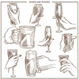 Hands holding drink glasses vector sketch icons of woman and man hand hold beer mug , champagne goblet or wineglass. Hands holding glasses vector sketch icons Stock Photo