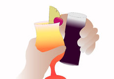 Hands holding drinkes. chin chin Royalty Free Stock Photography