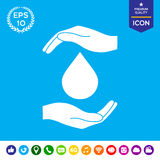 Hands holding drop - protection icon Royalty Free Stock Photos