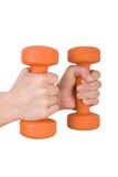 Hands holding dumbbells Stock Photography