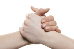 Hands holding each other Royalty Free Stock Photos