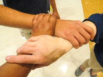Hands Holding Each Other In Teamwork Unity royalty free stock photos