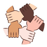 Hands Holding Eachother For Solidarity. Vector Illustration Of Five Human Hands Holding Eachother For Solidarity And Unity Stock Photography