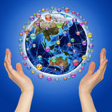 Hands holding earth Royalty Free Stock Photography