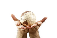 Hands holding Earth globe Stock Images
