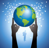 Hands Holding The Earth Globe Vector Royalty Free Stock Photos