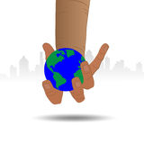 Hands holding the earth globe on white background. Saving the earth concept.   Stock Image