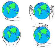 Hands holding the Earth. Outline of hands holding the Earth Royalty Free Stock Images