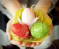 Hands Holding Easter Eggs Royalty Free Stock Images