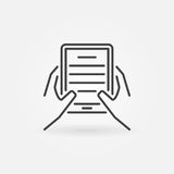 Hands holding ebook reader icon. Vector reading concept symbol in thin line style Royalty Free Stock Photo