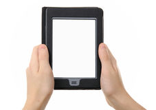 Hands holding empty electronic e-reader Stock Photo